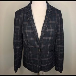 The Limited NWOT Navy Plaid Blazer